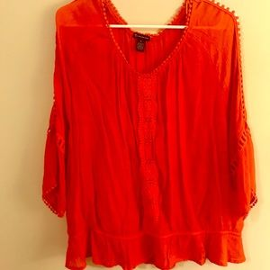 New Directions Orange Flowy Top w eyelet accent